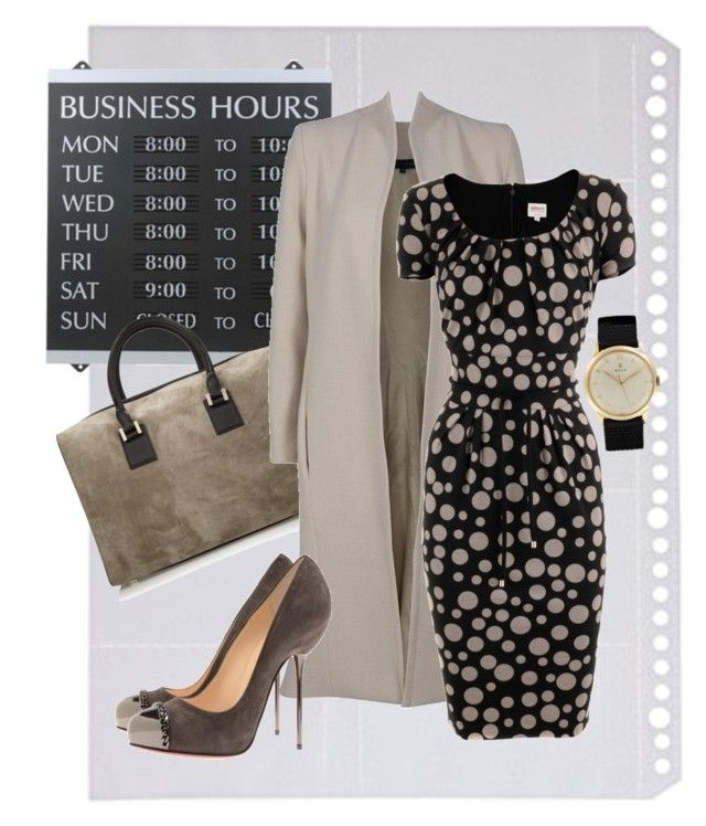 Business Meeting by yougivemesth on Polyvore featuring polyvore, fashion, style, Armani Collezioni, Elie Saab, Christian Louboutin, Victoria Beckham, Rolex, Muji, U.S. Stamp & Sign and clothing