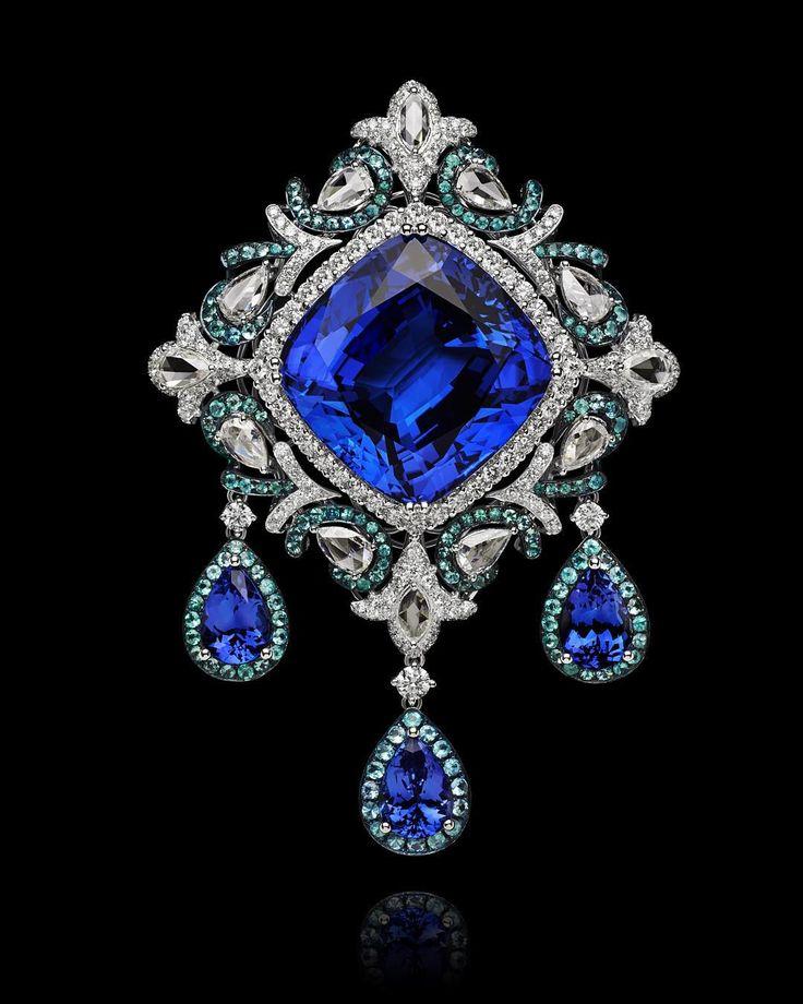 Sapphire and diamond pin.