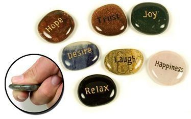 Engraved Inspirational Word Stones - Set up 5 - Grooved Worry Stone