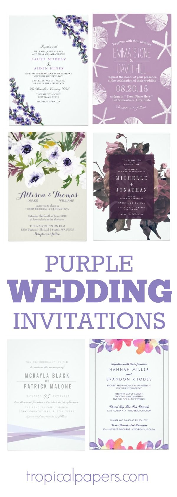 Custom purple wedding invitations in a variety of designs all by independent small business graphic designers. Each invitation is fully customizable and can be purchased along with coordinating wedding paper products – rsvp cards, postage stamps, table cards, wedding favor boxes and more.