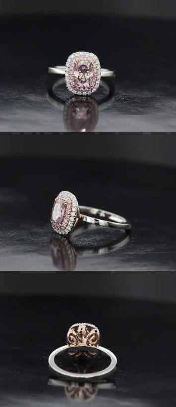 unique pink diamond double halo engagement ring