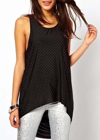 Summer Essential Dot Printed Round Neck T Shirts Black – teeteecee - fashion in style