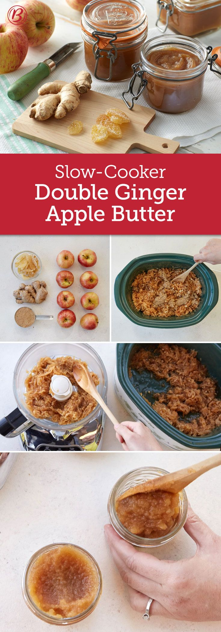 Crystallized ginger and fresh gingerroot give this easy, slow-cooker apple butter a one-two punch of flavor your friends and family will love. Be sure to let the apple butter cool at least 15 minutes before blending--safety first!