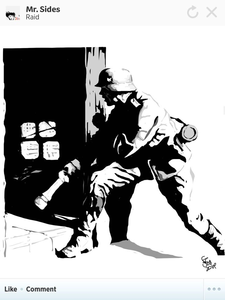 German solider raiding a house with a grenade.