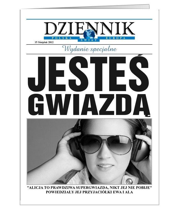 Kartka personalizowana imitująca pierwszą stronę gazety