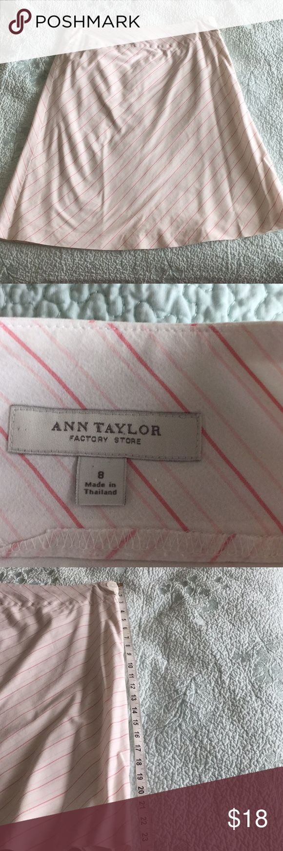 Pink and white striped Ann Taylor factory skirt Dark pink, light pink, and white stripe size 8 skirt. Has a light white lining underneath. Has small holes up on the top of the skirt from where the 2 safety pins were holding up the skirt (on each side) after dry cleaning. Super cute for summer/spring! Ann Taylor Factory Skirts