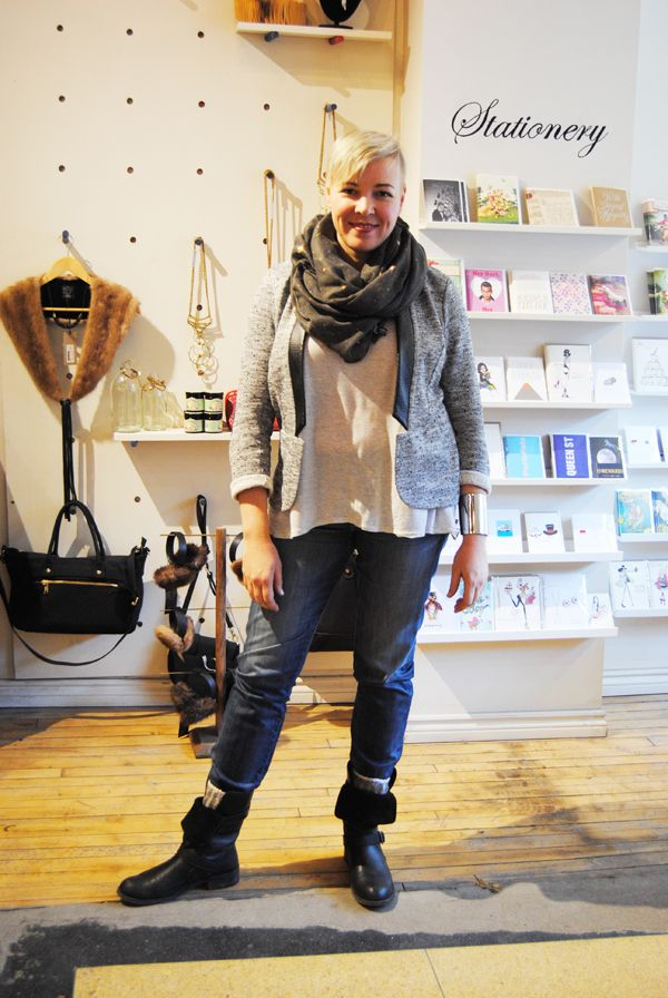 This outfit features the Slub/Leather Terna Jacket from Ferhn that fits like a comfy cardigan and Fidelity Axl Epic Dark Boyfriend Jeans that our online store manager Steph raves about being warm and durable all winter! #winter #ootd