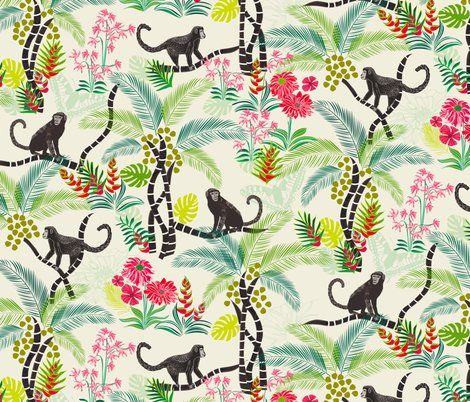 Possible entry wall paper - jungle with monkeys