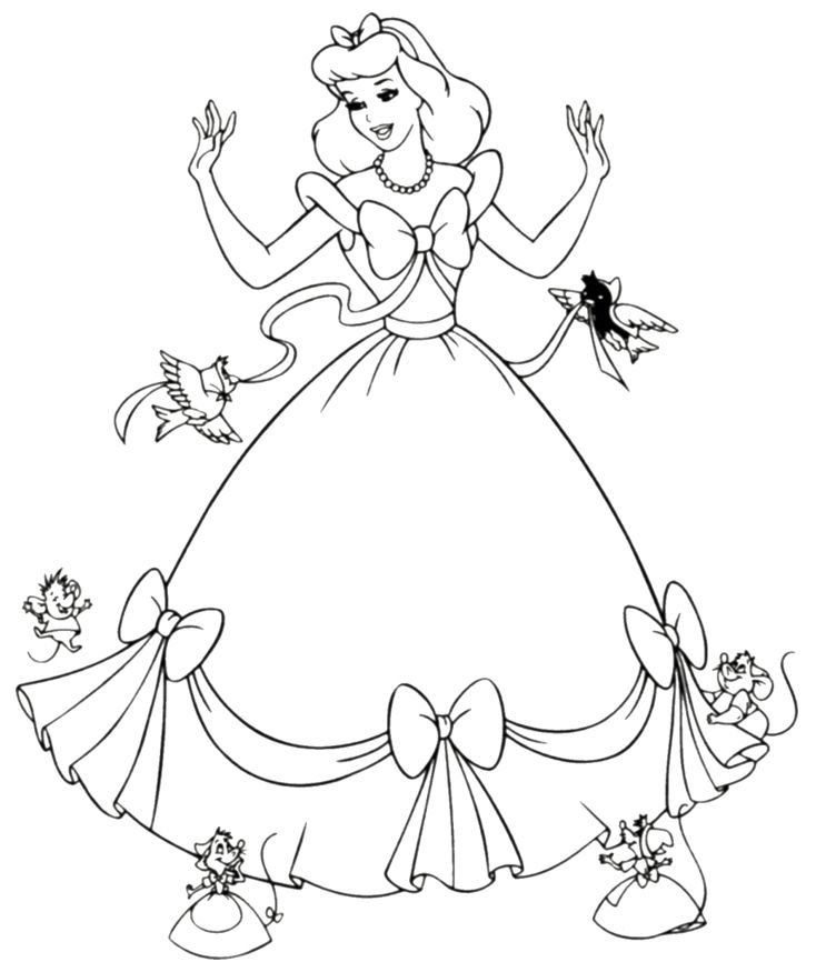 free printable cinderella coloring pages for kids - Pictures For Children To Colour In Disney