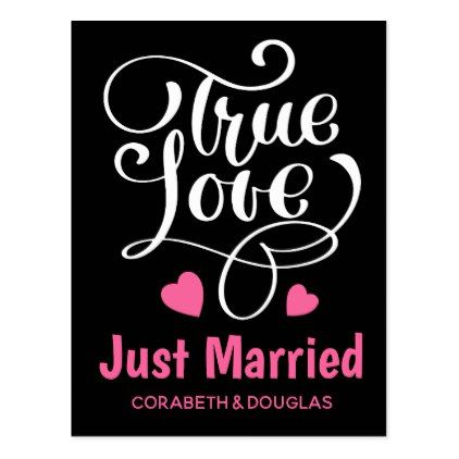 Black Just Married True Love Pink Hearts Wedding Postcard - postcard post card postcards unique diy cyo customize personalize