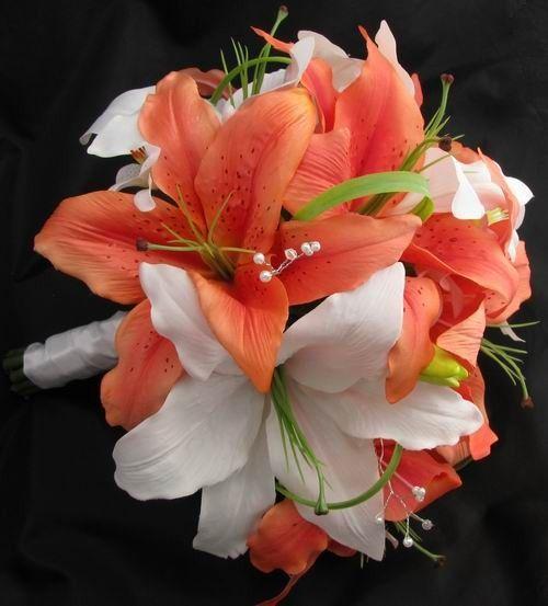 lily bouquet   silk bouquet orange cream white casablanca lilies