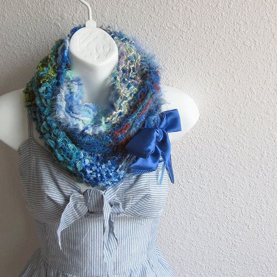 Circle Hand Knit Blue ScarfLace Scarf Infinity by whitewolfsclouds, $43.00
