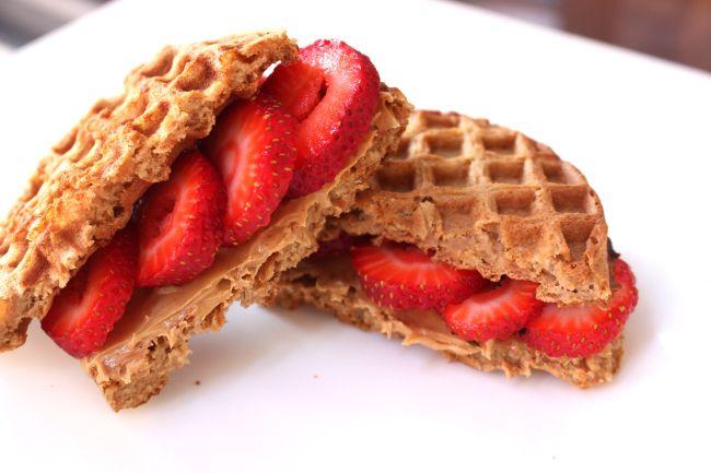 waffle PB&J - healthy breakfast sandwich!