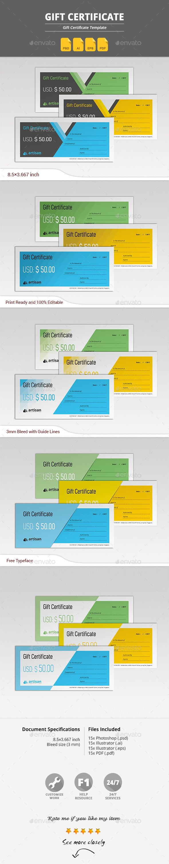 size of gift certificate