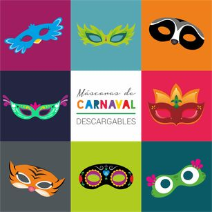 Máscaras de Carnaval descargables  #DIY #Printables #Carnival #Mask