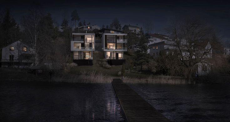 Bjørnviksveien - 4 apartment buildings - by night