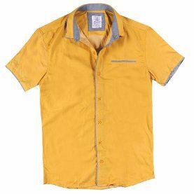 Kısa Kollu Fileto Cepli Pamuk Gömlek 331740 Sarı SARI