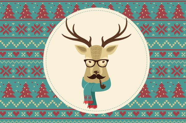 Vintage Hipster Christmas animals on Behance