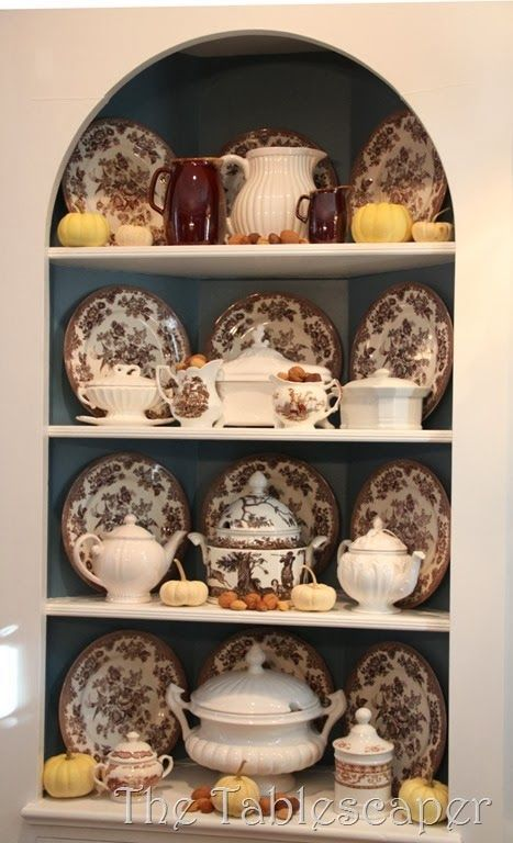 Brown Transferware and White Ironstone