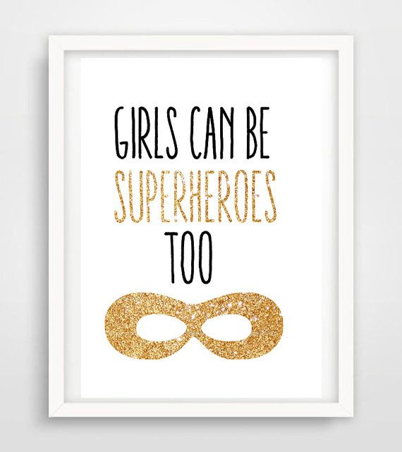 Girls can be superheroes too! A wall print perfect for your little superheros bedroom.  All wall prints are a4 in size and come unframed. If the