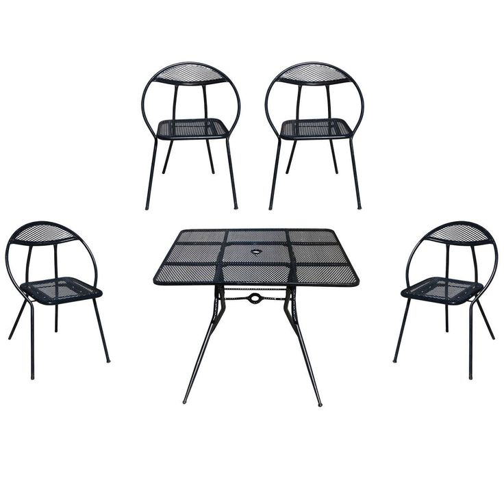 salterini mid century modern steel outdoor or patio dining set with four chairs