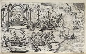 (18) La expedición de Brendan comienza con el relato que le hiciera Barrid un monje de Clonfert de una pasada excursión suya a esa tierra prometida, con un compañero, el padre Mernoc. Ellos permanecieron  un año en ese lugar, paradisiaco sin necesidad de comida, bebida o sueño. Inspirado en esta maravillosa historia, Brendan fue con catorce monjes a Kerry, donde construyeron un bote de madera cubierto de cuero de buey, curtido con corteza de roble y embarrado con sebo.