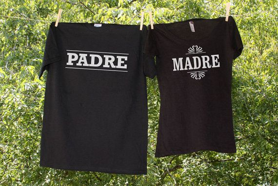Madre Padre Mexican Fiesta or Gender Reveal Party Shirts - Set of 2