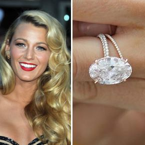 Blake Lively's engagement ring from hubby Ryan Reynolds features an oval cut center stone mounted on a diamond band by Lorraine Schwartz.