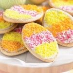 arrowroot cookies decorated as eggs, alot less time consuming