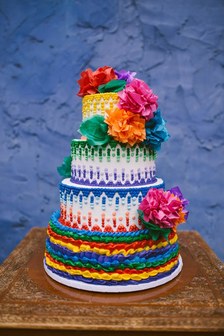 mexican fiesta inspired cake with tissue flowers
