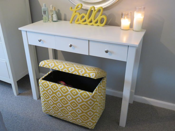 Upholstered dressing table stool with storage, super handy to store your hairdryer, hair straighteners, cosmetics etc.