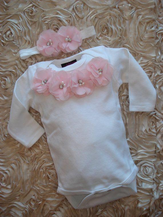Infant Baby Girl One Piece Set White Long by MyLolliflopsLLC