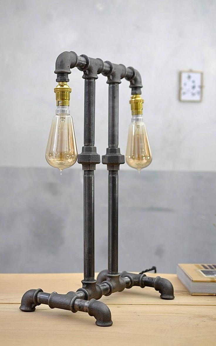 Two vintage style squirrel filament bulbs feature in this dual desk or table lamp