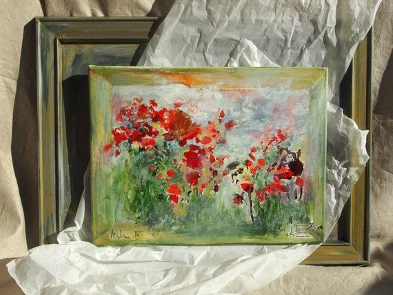 Picture In Stretcher Poppies Flower Picture Picture On Canvas Red Flowers Flower Meadow Poppy Single Piece Original Abstract Modern Malen In 2019