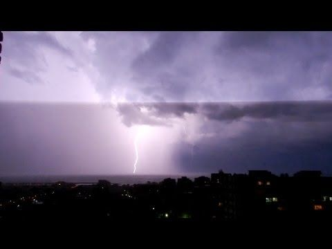10 hours of rain and thunder sounds in a lightning storm. True video of storm.