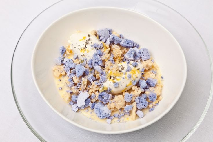 A heavenly lemon posset is complemented by a summery lavender meringue and white chocolate crumb in this recipe from Tony Fleming