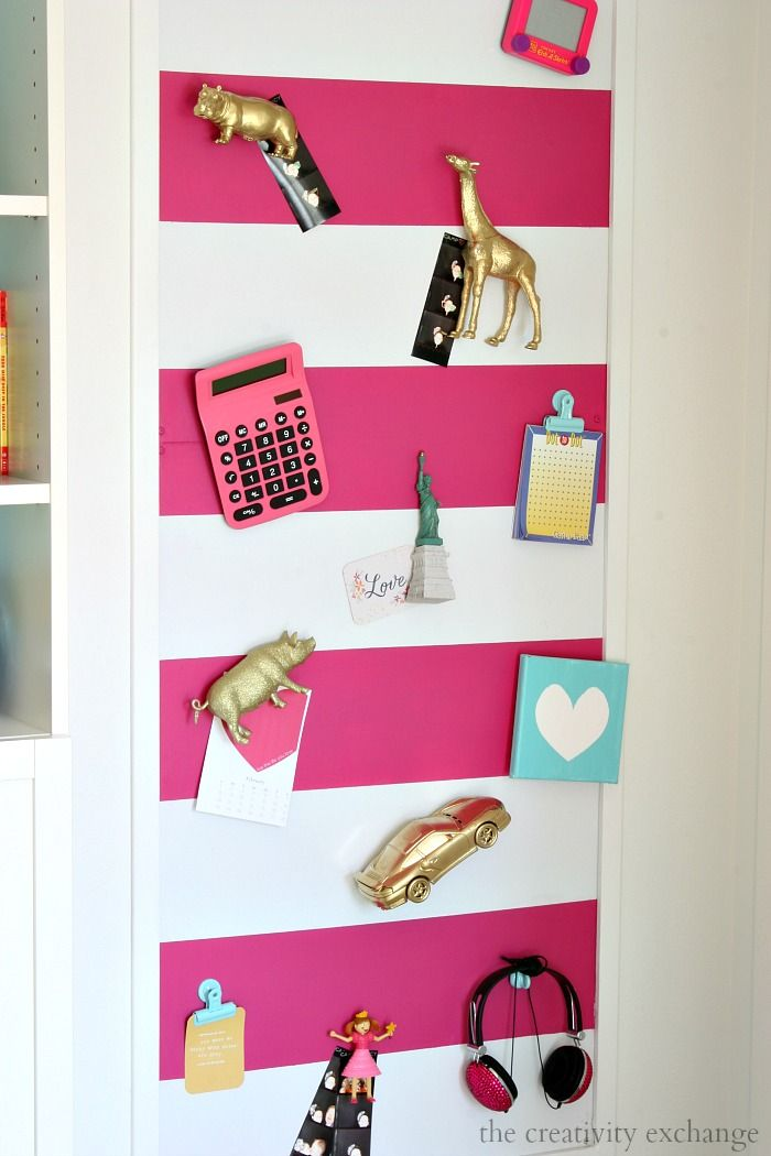 Tutorial for Large Kid's Magnetic Board with Spray Painted Toys for Magnets.   Can be painted or covered in fabric.  The Creativity Exchange