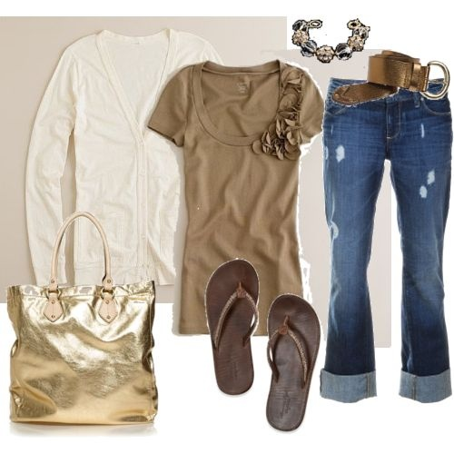 I could wear jeans, cute tshirt and cardigan everydayFlipflops, Fashion, Casual Outfit, Casual Friday, Clothing, Gold Bags, Flip Flops, Spring Outfit, My Style