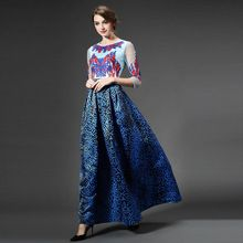 High-end женщин вышитые платья 2016 летний новый Американская и Европейская мода взлетно-посадочной полосы сетки старинные элегантный тонкий длинное платье(China (Mainland))