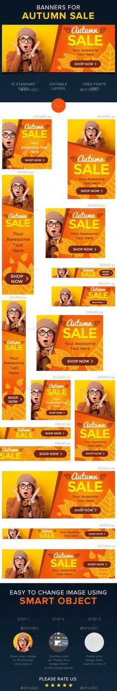 Autumn Sale Web Banners Template PSD #ads #design Download: http://graphicriver.net/item/autumn-sale-banners/13424764?ref=ksioks