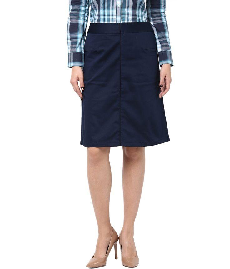 Kaaryah Women's Blue Straight Fit Formal Skirts