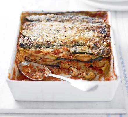 Superhealthy and lower in fat than a traditional lasagne, this version is also a lot quicker to assemble