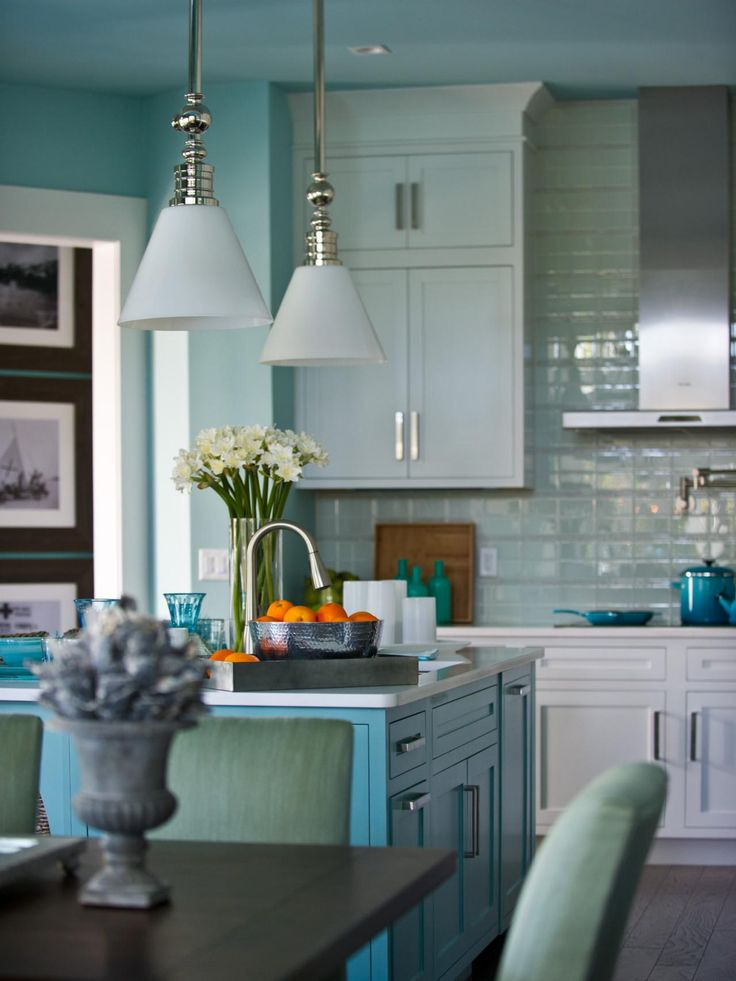 The beach blue 6 foot island capped in white quartz for Casual home kitchen island