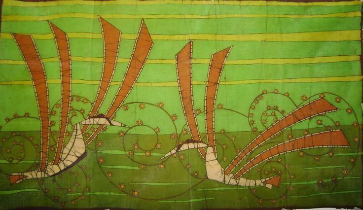 """""""Cortejo"""" Obras de arte en Batik. Tamaño: 65 cm x 118 cm. Nº colores (9). Sin enmarcar. Para dar significado a los espacios con la creatividad y el estilo. Alba Lucía Correa Blog: albalubatik.blogspot.com Celular: 314 870 75 54 Medellín Colombia"""