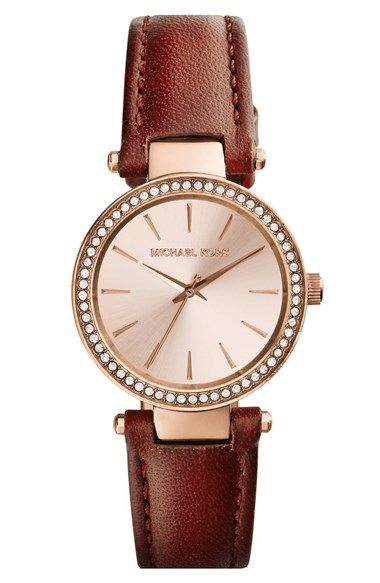 MICHAEL Michael Kors Michael Kors 'Petite Darci' Crystal Bezel Leather Strap Watch, 26mm available at #Nordstrom
