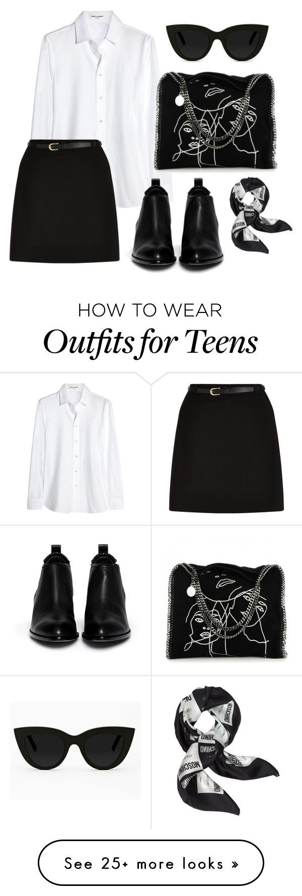 """""""Untitled #220"""" by preppyleague on Polyvore featuring Yves Saint Laurent, Alexander Wang, Quay, STELLA McCARTNEY, New Look, Moschino, rockerchic and rockerstyle"""