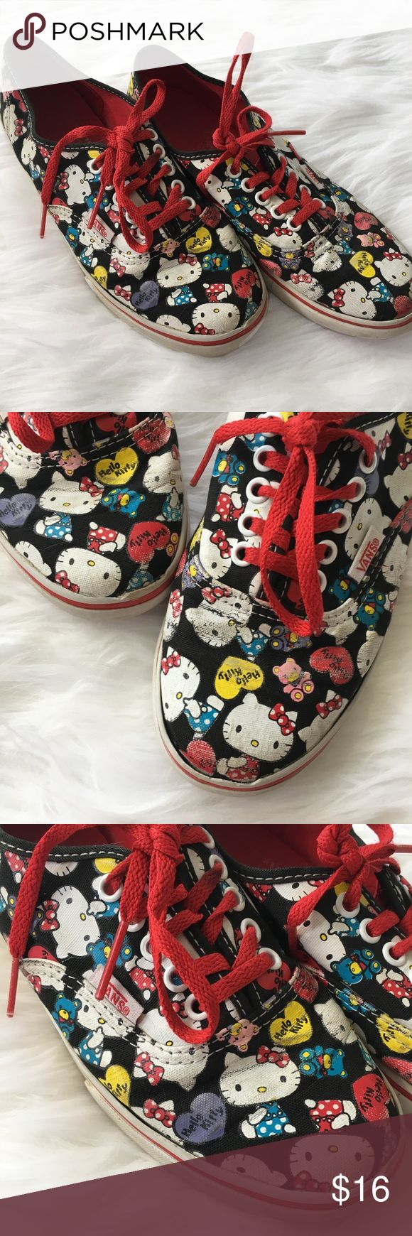 Hello Kitty Print Vans Hello Kitty Vans. Some spots of the print have faded and the fabric is starting to pull away from the rubber which is pictured in the last photo. This have lots of life left.   ⭐️10% off 2+ bundle  ⭐️Size 6 ⭐️Smoke free home Vans Shoes Sneakers