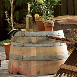 Wine Barrel Outdoor Table -- great for backyard or roof deck