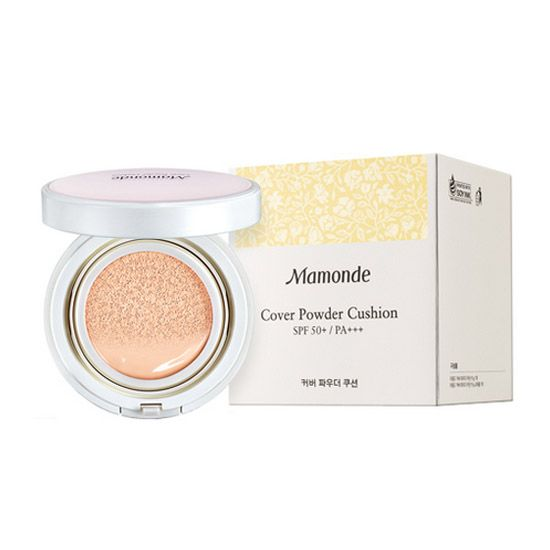 Mamonde cover powder cushion SPF 50+ PA+++ * Powdery Finish, Suitable for Oily/Combo Skin * Peach Water & Hyaluronic Acid Moisturizing Deep Inside of Skin * No Darkening, Long-lasting Radiant Skin.