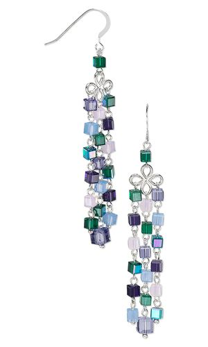 Earrings with Swarovski Crystal Beads and Sterling Silver Links - Fire Mountain Gems and Beads